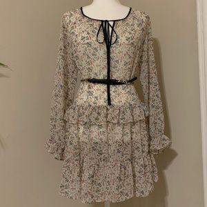 Shift ruffle tiered floral botanical tunic dress